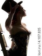 Купить «Силуэт девушки в корсете и щляпе со стремянкой», фото № 4107835, снято 30 сентября 2009 г. (c) Syda Productions / Фотобанк Лори