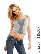 Купить «Стройная девушка в джинсах и влажной майке на белом фоне», фото № 4115027, снято 7 апреля 2007 г. (c) Syda Productions / Фотобанк Лори