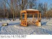 Купить «Деревянная беседка на берегу Коломенской набережной, Москва», эксклюзивное фото № 4116987, снято 12 декабря 2012 г. (c) lana1501 / Фотобанк Лори