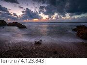Купить «Вид на морское побережье в часы заката», фото № 4123843, снято 7 декабря 2012 г. (c) Николай Винокуров / Фотобанк Лори