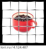 Купить «Красная чашка с зернами кофе», фото № 4124487, снято 6 июня 2008 г. (c) Francesco Perre / Фотобанк Лори