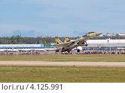 Купить «Международный авиационно-космический салон МАКС-2011. Многоцелевой высокоманевренный всепогодный истребитель Су-35», фото № 4125991, снято 19 августа 2011 г. (c) Игорь Долгов / Фотобанк Лори