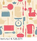 Купить «Бесшовный фон с бытовыми кухонными приборами», иллюстрация № 4126071 (c) Юлия Гапеенко / Фотобанк Лори
