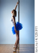 Купить «Стройная сексуальная девушка в синей пышной юбке стоит около шеста», фото № 4129911, снято 5 февраля 2012 г. (c) chaoss / Фотобанк Лори