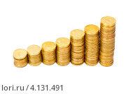 Купить «Стопки золотых монет», фото № 4131491, снято 25 ноября 2012 г. (c) Mikhail Starodubov / Фотобанк Лори