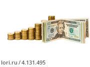 Купить «Стопки монет с долларами», фото № 4131495, снято 25 ноября 2012 г. (c) Mikhail Starodubov / Фотобанк Лори