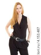 Купить «Длинноволосая блондинка в черном комбинезоне», фото № 4153487, снято 1 декабря 2012 г. (c) Сергей Дубров / Фотобанк Лори
