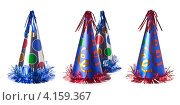 Купить «Карнавальные разноцветные колпаки изолировано на белом фоне», фото № 4159367, снято 16 июня 2019 г. (c) Оксана Гильман / Фотобанк Лори