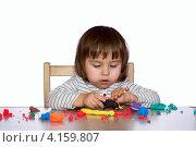 Купить «Девочка лепит из пластилина за столом на белом фоне», фото № 4159807, снято 20 ноября 2012 г. (c) Александр Волков / Фотобанк Лори