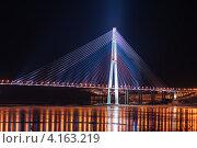Самый длинный вантовый мост в мире во Владивостоке через пролив Босфор Восточный на остров Русский (2013 год). Редакционное фото, фотограф Олег Родионов / Фотобанк Лори