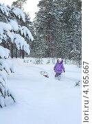 Купить «Ребенок на прогулке в зимнем лесу», фото № 4165667, снято 3 января 2013 г. (c) Икан Леонид / Фотобанк Лори