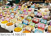 Купить «Зерновые и специи на базаре», фото № 4166011, снято 9 мая 2012 г. (c) Юрий Губин / Фотобанк Лори