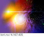 Купить «Абстрактный рисунок, яркие оранжевые пятна на фоне звёздного неба», иллюстрация № 4167435 (c) ElenArt / Фотобанк Лори