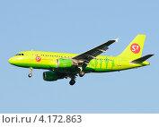 Купить «Airbus A319 (бортовой VP-BHJ) авиакомпании S7 на посадке в Домодедово», эксклюзивное фото № 4172863, снято 20 июля 2011 г. (c) Alexei Tavix / Фотобанк Лори