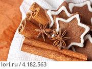 Шоколадное рождественское печенье с корицей. Стоковое фото, фотограф Анна Гучек / Фотобанк Лори