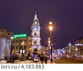Купить «Санкт-Петербург, здание городской думы на Невском проспекте с рождественской иллюминацией, вечер», фото № 4183883, снято 25 декабря 2012 г. (c) ИВА Афонская / Фотобанк Лори