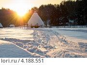 Стог сена на закате. Стоковое фото, фотограф Николай Бирюков / Фотобанк Лори