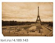 Купить «Винтажная открытка с Эйфелевой башней в Париже», фото № 4189143, снято 14 августа 2011 г. (c) Андрей Кузьмин / Фотобанк Лори