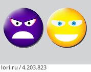 Злой и добрый смайлики. Стоковая иллюстрация, иллюстратор Николай Цитульский / Фотобанк Лори