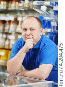 Купить «Продавец в синей футболке», фото № 4204475, снято 3 ноября 2012 г. (c) Дмитрий Калиновский / Фотобанк Лори