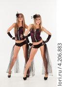 Купить «Две девушки в эротических нарядах», фото № 4206883, снято 12 января 2013 г. (c) Литвяк Игорь / Фотобанк Лори