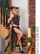Купить «Девушка в эротическом наряде стоит на лестнице», фото № 4206923, снято 12 января 2013 г. (c) Литвяк Игорь / Фотобанк Лори