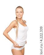 Купить «Стройная молодая блондинка в белом хлопчатобумажном белье», фото № 4222339, снято 8 мая 2010 г. (c) Syda Productions / Фотобанк Лори