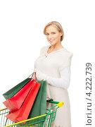 Купить «Счастливая молодая женщина держит в руках покупки в бумажных пакетах на белом фоне», фото № 4222739, снято 30 октября 2010 г. (c) Syda Productions / Фотобанк Лори