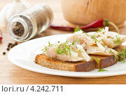 Купить «Соленая скумбрия с жареными тостами», фото № 4242711, снято 30 января 2013 г. (c) Peredniankina / Фотобанк Лори