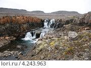 Двухступенчатый водопад на плато. Стоковое фото, фотограф Сергей Дрозд / Фотобанк Лори