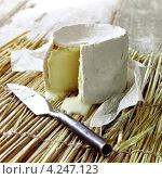 Купить «Сыр камамбер и нож, французская кухня», фото № 4247123, снято 22 июля 2019 г. (c) Food And Drink Photos / Фотобанк Лори