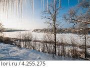 Купить «Зимний пейзаж с рекой сосульками и лесом покрытым инеем», эксклюзивное фото № 4255275, снято 26 января 2013 г. (c) Игорь Низов / Фотобанк Лори