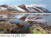 Купить «Вид на горное озеро и снежную вершину в горах», фото № 4255751, снято 1 июня 2012 г. (c) Николай Винокуров / Фотобанк Лори