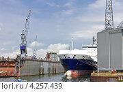 Купить «Индустриальный пейзаж. Корабль и кран на верфи», фото № 4257439, снято 13 августа 2012 г. (c) Николай Кокарев / Фотобанк Лори
