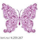 Бабочка с цветочным узором. Стоковая иллюстрация, иллюстратор kiyanochka / Фотобанк Лори