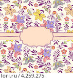 Цветочный фон с рамкой. Стоковая иллюстрация, иллюстратор kiyanochka / Фотобанк Лори