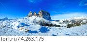 Панорама Доломитовых Альп зимой (Sella Pass), Италия. Стоковое фото, фотограф Юрий Брыкайло / Фотобанк Лори