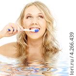 Купить «Счастливая блондинка чистит зубы на белом фоне», фото № 4266439, снято 25 марта 2007 г. (c) Syda Productions / Фотобанк Лори
