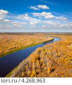 Вид с высоты птичьего полет на реку и осенний лес. Стоковое фото, фотограф Владимир Мельников / Фотобанк Лори
