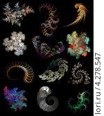 Купить «Яркие красочные фракталы на черном фоне», иллюстрация № 4278547 (c) Игорь Долгов / Фотобанк Лори