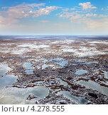 Купить «Вид сверху на болото весной», фото № 4278555, снято 19 апреля 2012 г. (c) Владимир Мельников / Фотобанк Лори