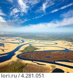 Извилистая река, желтая трава, белые облака, фото № 4281051, снято 30 мая 2012 г. (c) Владимир Мельников / Фотобанк Лори