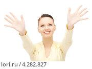 Купить «Счастливая девушка радуется на белом фоне», фото № 4282827, снято 2 октября 2010 г. (c) Syda Productions / Фотобанк Лори