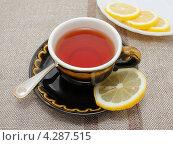Купить «Чай с лимоном», фото № 4287515, снято 6 февраля 2013 г. (c) Наталья Осипова / Фотобанк Лори