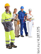 Купить «Четверо разных рабочих в спецодежде», фото № 4287575, снято 17 июня 2010 г. (c) Phovoir Images / Фотобанк Лори