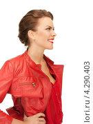 Купить «Яркая молодая шатенка в красной кожаной куртке», фото № 4290403, снято 12 марта 2011 г. (c) Syda Productions / Фотобанк Лори