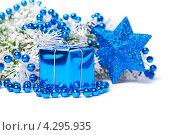 Синие рождественские украшения. Стоковое фото, фотограф Olha Ukhal / Фотобанк Лори