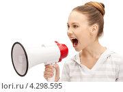 Купить «Счастливая девочка с мегафоном на белом фоне», фото № 4298595, снято 26 марта 2011 г. (c) Syda Productions / Фотобанк Лори