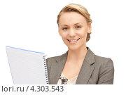 Купить «Привлекательная деловая женщина записывает данные в блокнот», фото № 4303543, снято 20 марта 2019 г. (c) Syda Productions / Фотобанк Лори