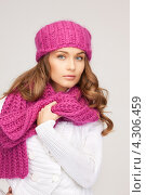 Купить «Красивая молодая женщина в вязаной зимней одежде», фото № 4306459, снято 10 октября 2010 г. (c) Syda Productions / Фотобанк Лори